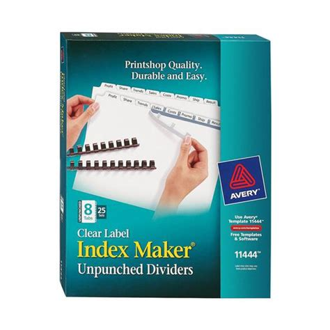 avery 8 tab index avery 11444 clear label index maker unpunched dividers white 8 tab box of 25 sets nordisco