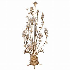 floral brass and crystal floor lamp at 1stdibs With copper floral floor lamp