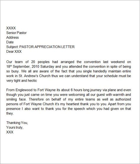 best photos of pastor appreciation letter sle pastors