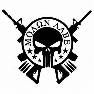 Molon Labe Punisher Skull AR 15 Guns Car or clipart