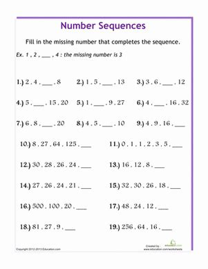 number sequences worksheet education