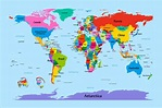Map of the World Map, Big Text for Kids, Art Print Poster ...
