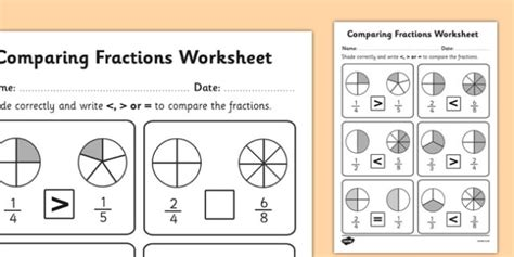 Comparing Fractions Activity Sheet  Fractions, Comparing
