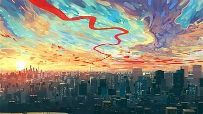 Drawing Sky Background Cityscape Buildings Wallpapers 4k