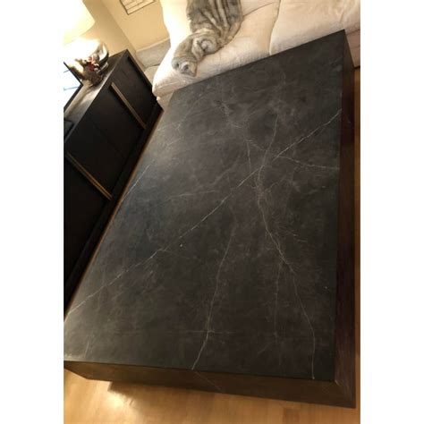 78 modern black marble & gold dining table ~ restoration hardware reproduction. Restoration Hardware Marble Plinth Coffee Table | Chairish