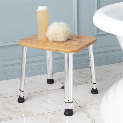 adjustable height bamboo shower stool traditional