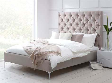Elise Tall Buttoned Headboard Upholstered Bed  Living It Up