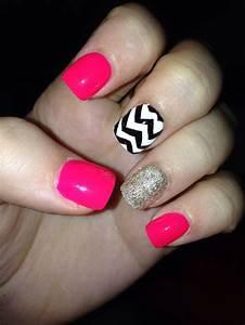 Pink glitter aztec nails!! | Cute Nail Designs | Pinterest