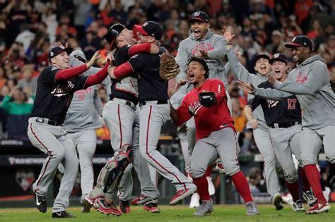 nationals series washington win game astros nats baseball celebration celly fox winnen buck joe air houston gomes beating franchise captured