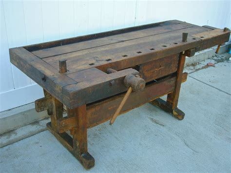 fabulous antique wooden carpenters workbench  vises