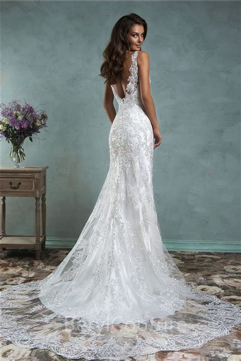 backless wedding dress lace mermaid backless vintage lace wedding dress with