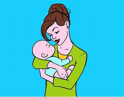 Bambino Che Dondola Suo Madre Disegno Colorato