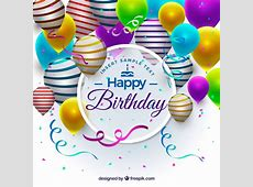 Realistic birthday ballons background Vector Free Download