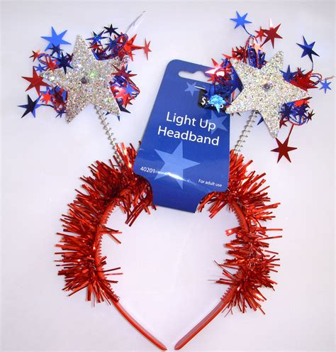 light up star headband light up july 4th fourth independence red white blue