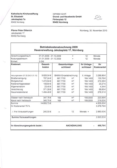 Wohnen Betriebskostenabrechnung by 17 Nebenkostenabrechnung Muster Vorlagen123 Vorlagen123