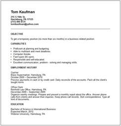 Work Resume Templates Temp Worker Resume Exle Free Templates Collection