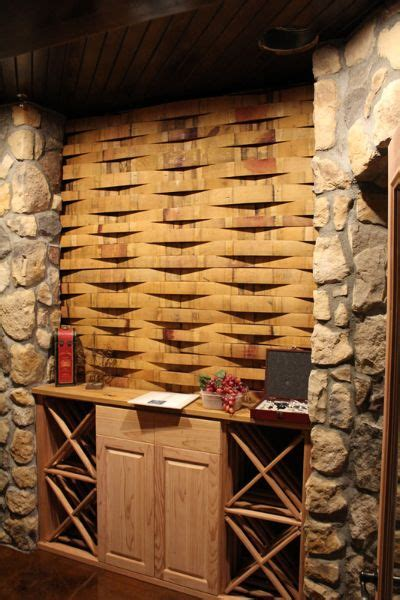 wine barrel stave accent wall  custom wine cellar