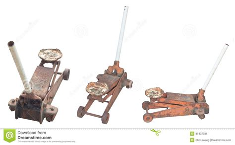 Old Rusty Hydraulic Car Floor Jack Stock Image