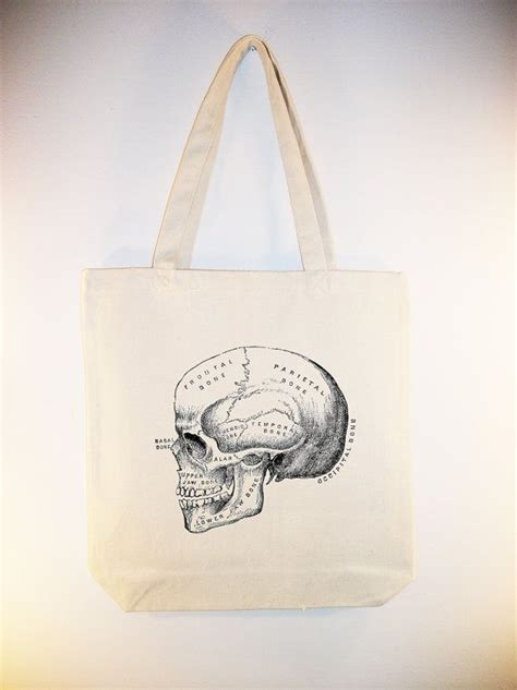 vintage skull diagram   canvas tote  whimsybags