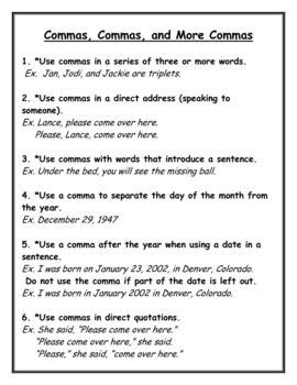 grammar  kinds  sentences commas quotation marks
