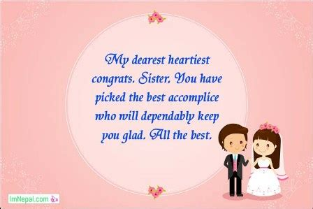 wishes congratulations messages  sister wedding marriage