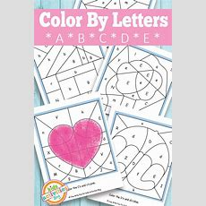 Color By Letters A, B, C, D, E {free Kids Printable}  Alphabet Activities, Color By Numbers And