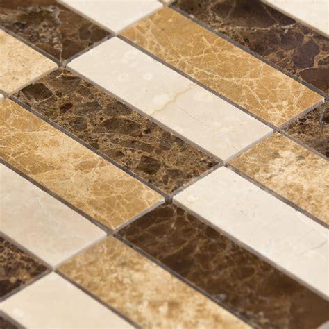 plaque de marbre cuisine mosaïque marbre mixcolor lamelles marron beige indoor by