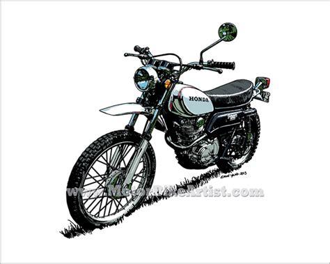 Honda Xl250 Vintage Motorcycle Vector Art Drawing On Behance