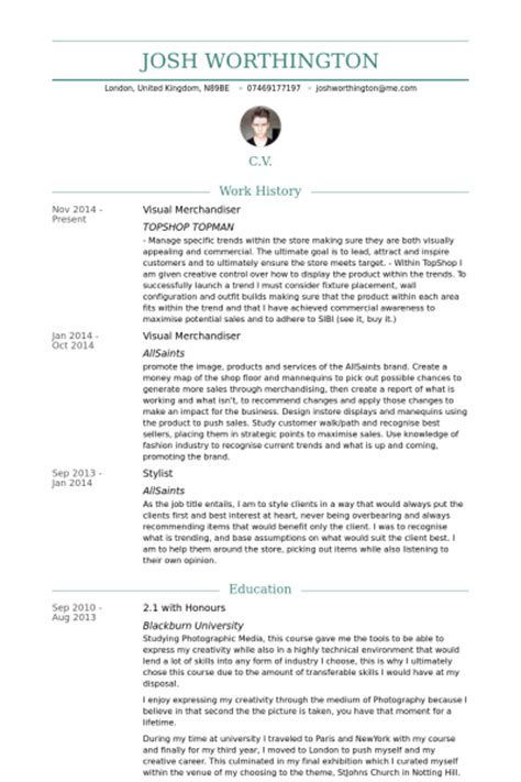 Visual Resume Sles by Visual Merchandiser Exemple De Cv Base De Donn 233 Es Des Cv De Visualcv