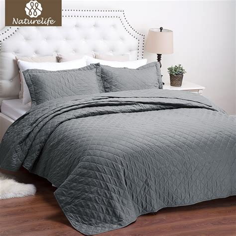 Coverlet Or Duvet by Naturelife Grey Quilt Set Pattern Bedspread Bed