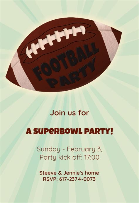 football superbowl party printable party invitation