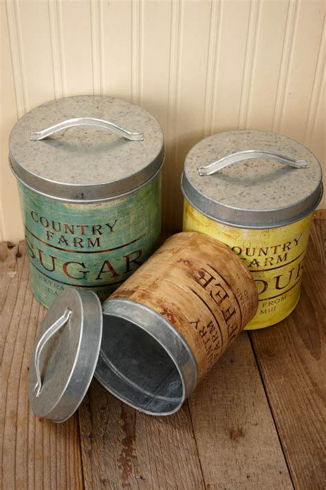 Kitchen Canisters Metal by Vintage Galvanized Canister Set Of 3