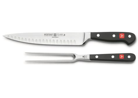 Wusthof Classic 2 Piece Carving Knife & Fork Set Hollow
