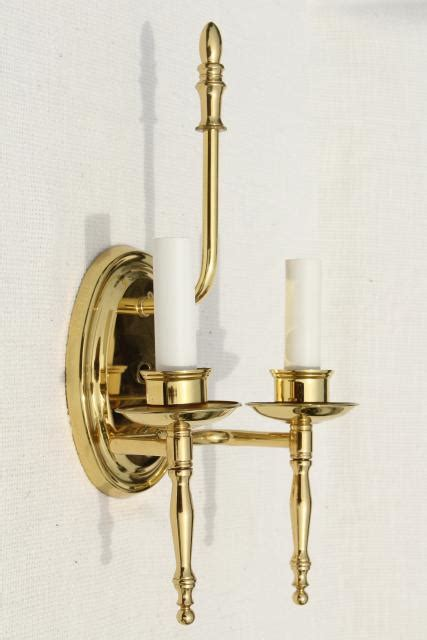 polished brass wall lights pair candle sconces w