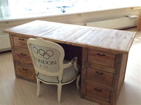 wine bureau bureau houten wijnkisten desk wooden wine crates