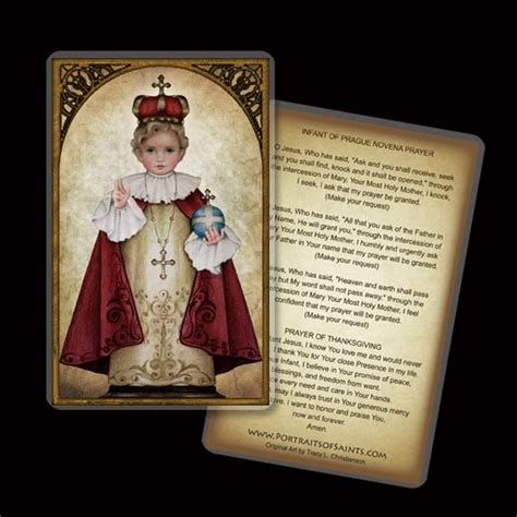 Infant Of Prague Holy Card Portraits Of Saints