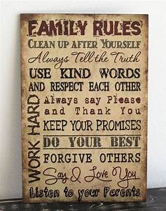 Primitive wood sign quot tan family rules rustic