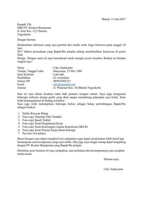 Contoh Surat Lamaran Pekerjaan Yang Ada Kop by Contoh Surat Lamaran Kerja Pdf Terbaru