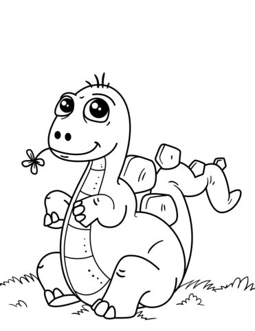 Cute Little Dinosaur coloring page Free Printable