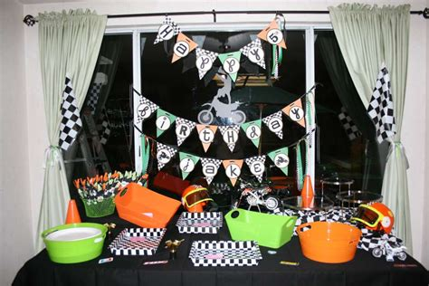 Motocross Birthday Party Ideas  Photo 5 Of 18  Catch My. Artificial Decorative Trees. Dorm Room Beds. Bridal Shower Decoration. Tile Floors In Living Room. Ways To Divide A Room. Awesome Home Decor. Exterior Wall Decor. Crystal Decorations