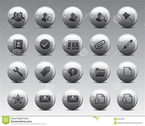 taille icone bureau icônes de web et de bureau de 3d grey balls stock vector