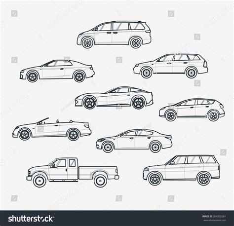 Royalty-free Liner Icons Set Of Cars Types. Sedan