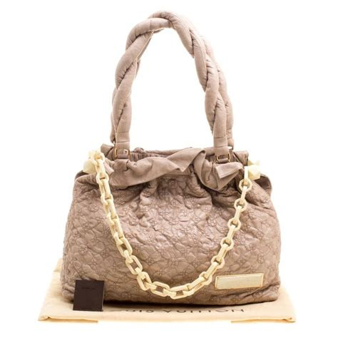 louis vuitton beige monogram embroidered leather limited edition gm shoulder bag  sale  stdibs