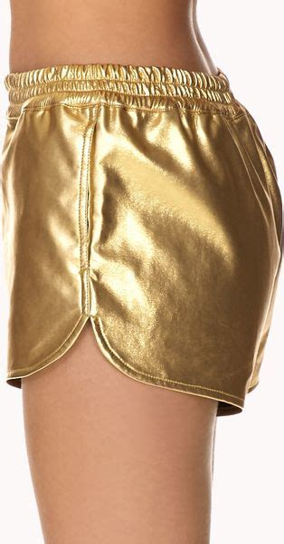 luxe metallic faux leather shorts  gold lyst