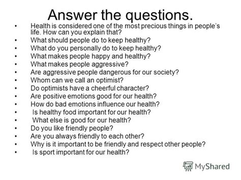 Health Questions And Answers by презентация на тему Quot Health And Fitness A Sound Mind Is