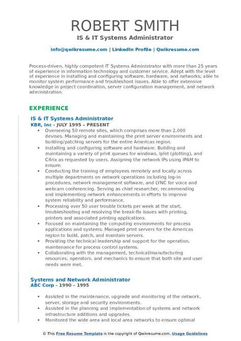 It Systems Administrator Resume by It Systems Administrator Resume Sles Qwikresume