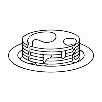 Outline Pancakes Honey Isolated Icon Background Illustration