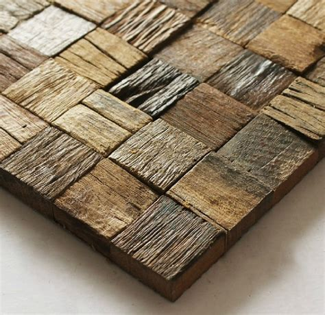 Natural wood mosaic tile rustic wood wall tiles NWMT002