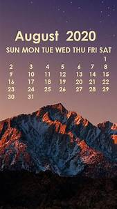 2020 Calendar Printable Monthly August 2020 Iphone Wallpaper Calendar Wallpaper Iphone