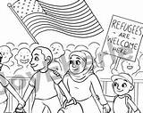 Cgi Coloring Designlooter Refugee Welcome sketch template